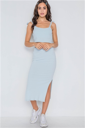 51fea68b5f78 Quick View this Product Baby Blue Ribbed Crop Top Midi Skirt Two Piece Set