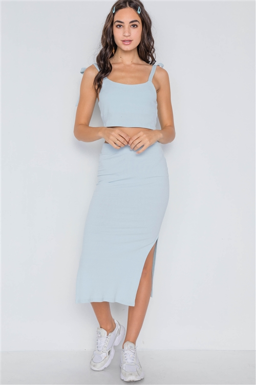 Baby Blue Ribbed Crop Top Midi Skirt Two Piece Set
