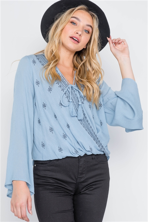 Dusty Blue Embroidery Bell Sleeve Top
