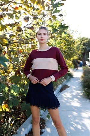 Burgundy Colorblock Long Sleeve Crop Top