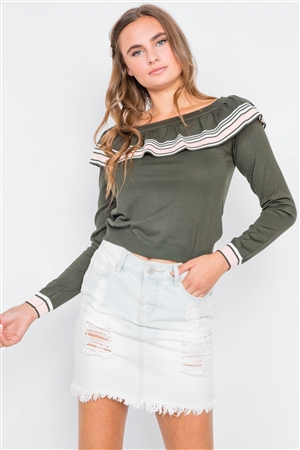 Olive Pink Colorblock Long Sleeve Crop Knit Sweater