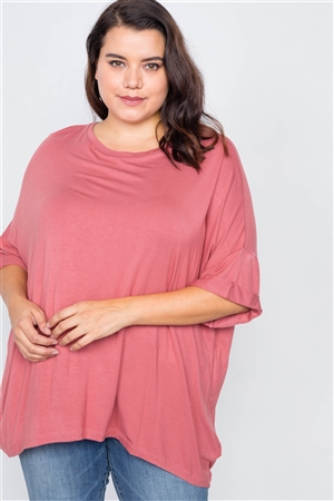 Plus Size Ginger Batwing Short Sleeve Drop-Shoulder Top