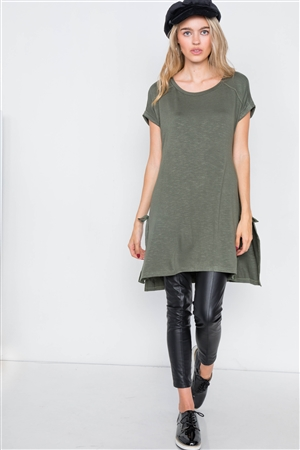 Olive High-Low Rolled Sleeves Side Slit Self-Tie Top