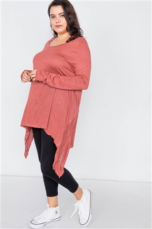 Plus Size Solid Rust Shark Bite Raw Hem Top