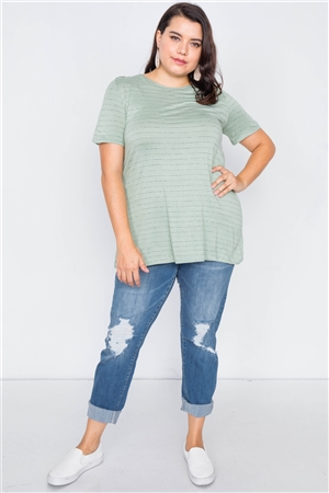 Plus Size Sage Cut Out Back Bow Short Sleeve Top