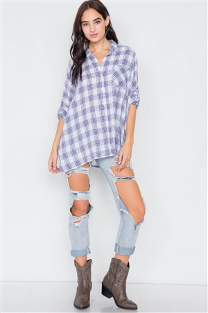 White Blue & Red Cotton Relaxed Fit Plaid Button Down Top