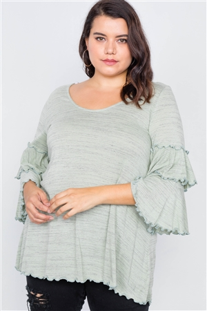 Plus Size Sage Tiered Ruffle Bell Sleeve Scoop Neck Top