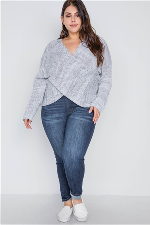 Plus Size Grey Heathered Cross-Front Knit Sweater