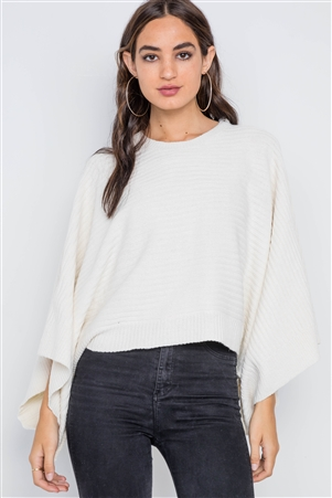 Ivory Ribbed Kimono Sleeves Knit Sweater
