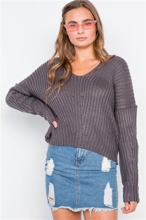 Charcoal Knit V-Neck Long Sleeve Sweater