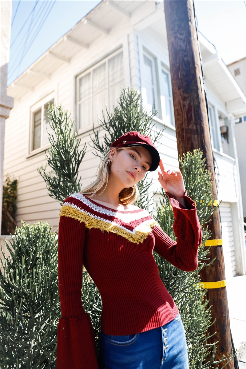 Burgundy Multi Stripe Knit Bell Sleeve Sweater