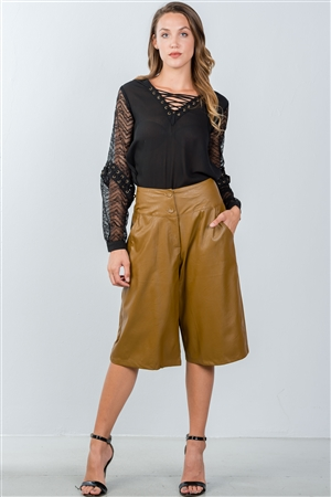 Camel Wide Leg Faux Leather Culottes