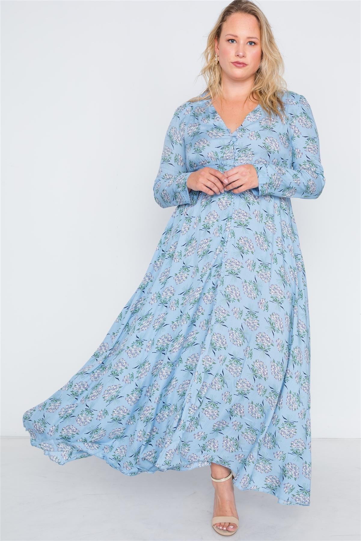 Plus Size Light Blue Floral Button Down Maxi Dress