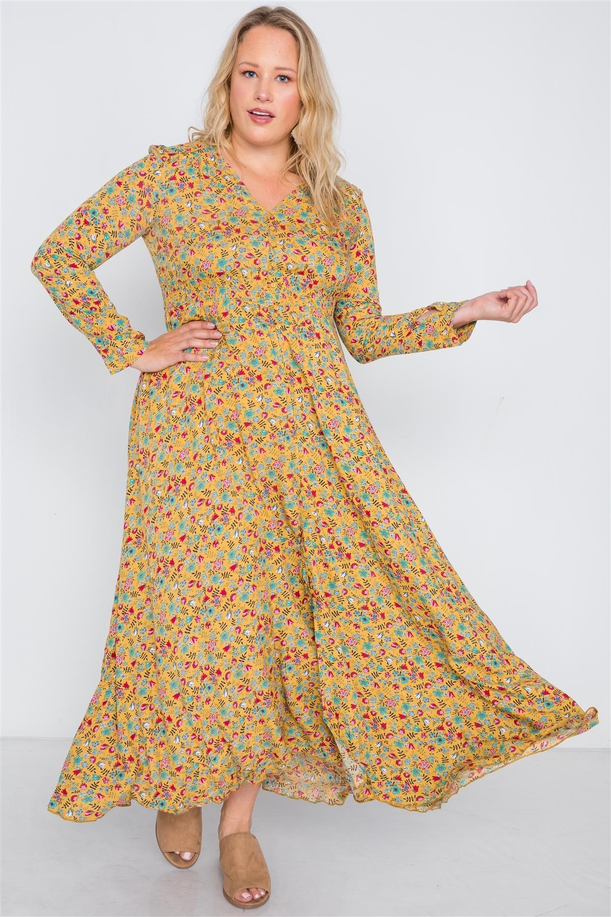 Plus Size Yellow Floral Button Down Maxi Dress