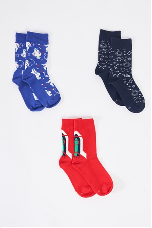 Fiorucci Fun Astro Themed Multicolor Printed Quarter Ankle Cut Kids' Socks Set Of Three /4 Sets Of 3 Pairs
