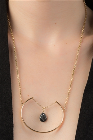 Gold & Black Precious Teardrop Stone Necklace