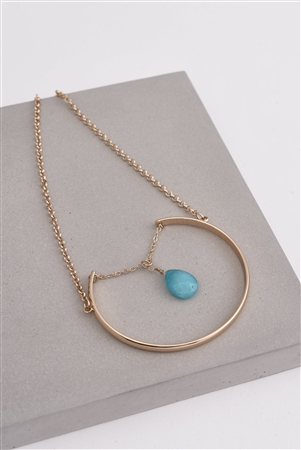 Gold & Turquoise Precious Teardrop Stone Necklace