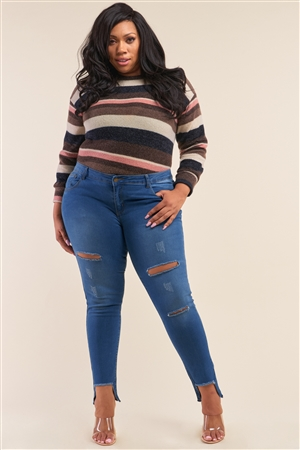 Junior Plus Size Medium Blue Ripped Pants