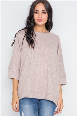 Taupe Ribbed 3/4 Sleeve Loose Fit Knit Top