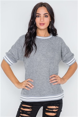 Charcoal Stripe Contrast Trim Crew Neck Top