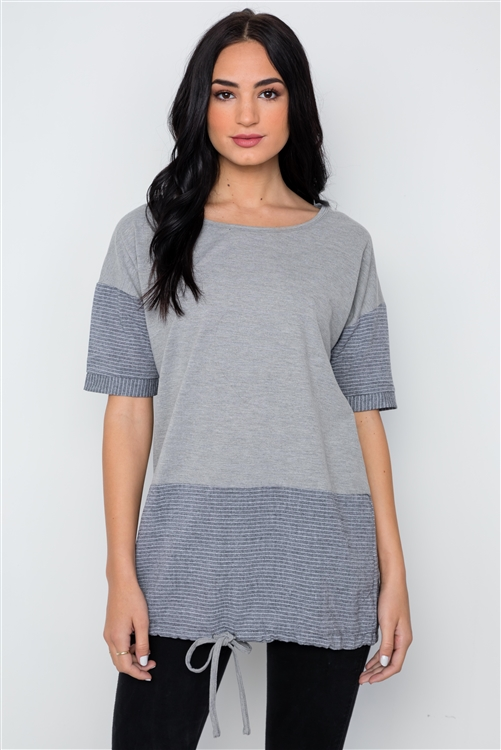 Grey Contrast Stripe Short Sleeve Top