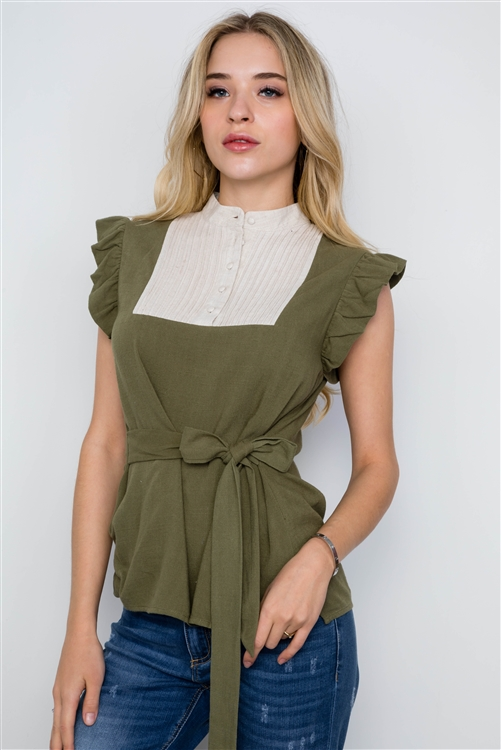 Olive Tie Front Ruffle Sleeve Boho Top