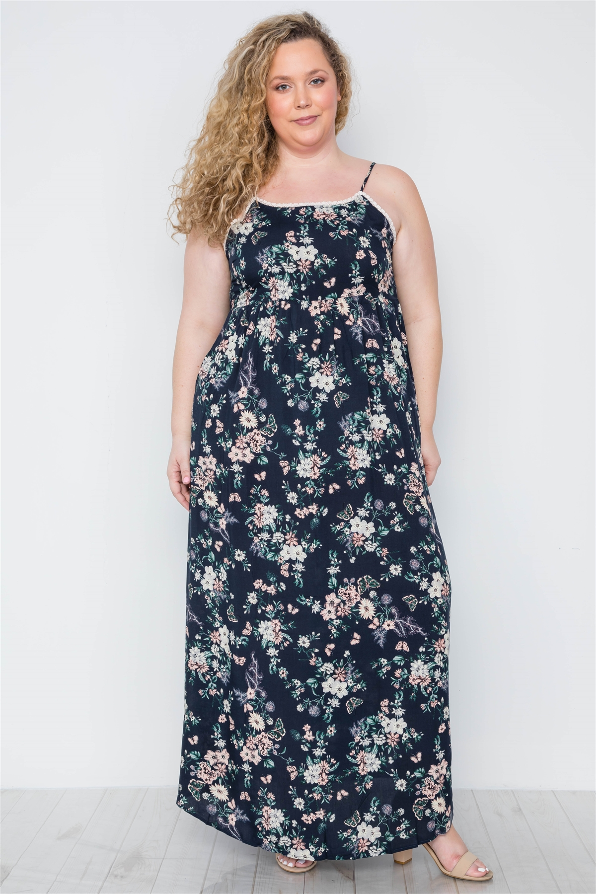 62908b07329 Plus Size Multi Navy Crochet Trim Floral Cami Maxi Dress / 2-2-2