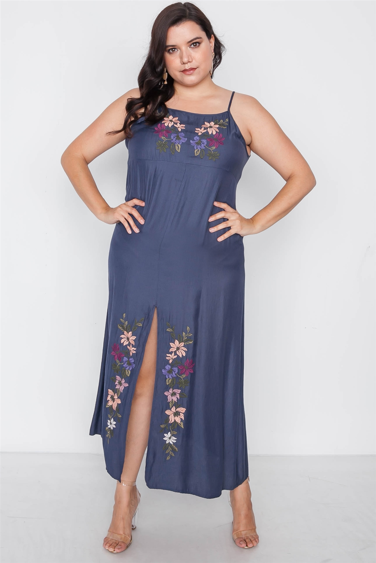 Plus Size Navy Cami Floral Embroidery Boho Maxi Dress / 2-2-2