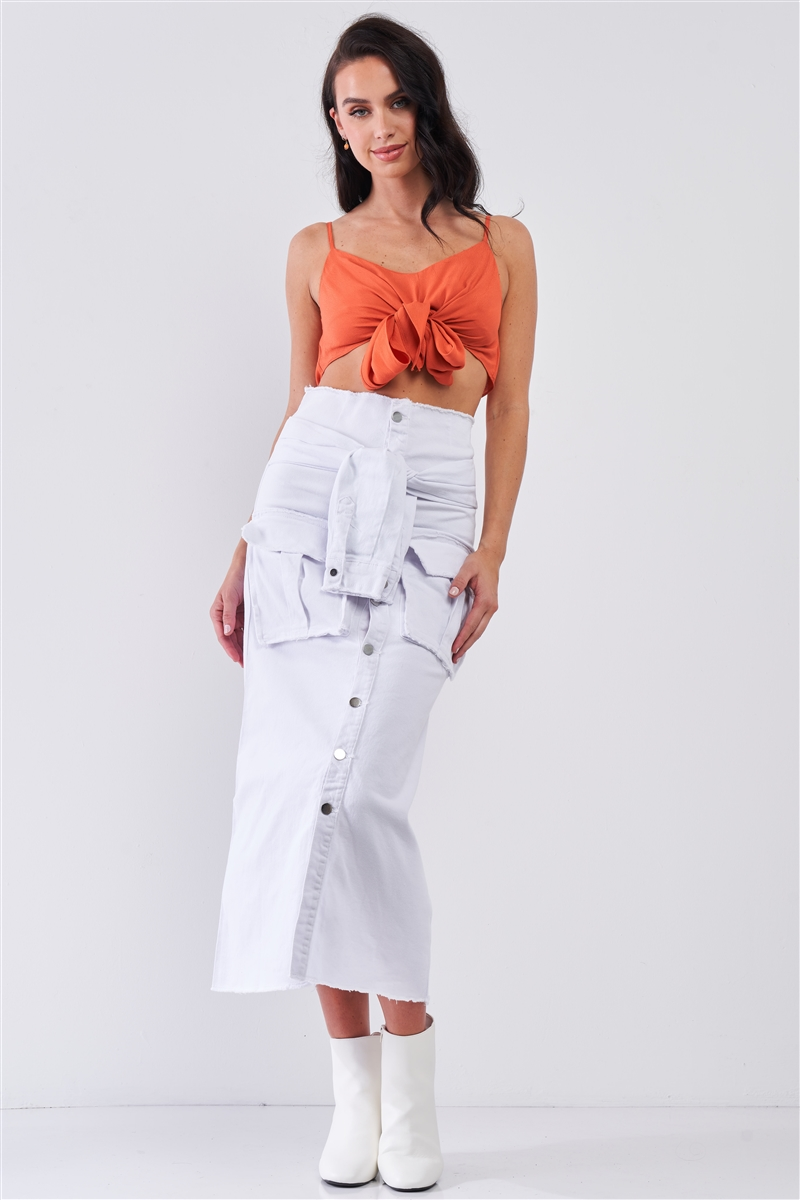 White Denim High Waist Button Down Mock Sleeve Wrap Detail Tube Midi Skirt With Front Pockets /2-2-2