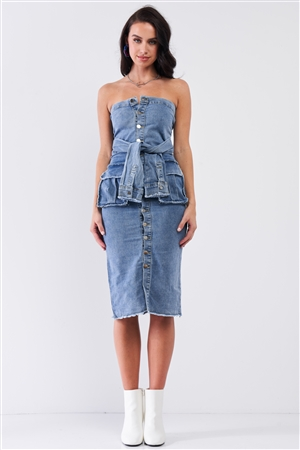 Vintage Medium Blue DenimSleeveless Strapless Button Down Mock Sleeve Wrap Detail Tube Midi Dress With Front Pockets /2-2-2