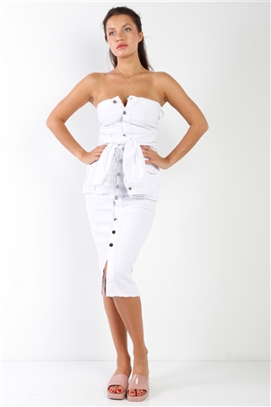 White Denim Sleeveless Strapless Button Down Mock Sleeve Wrap Detail Tube Midi Dress With Front Pockets /2-2-2