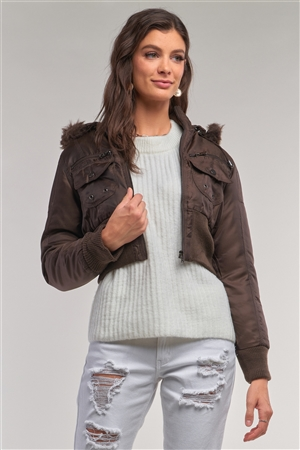 Copper Brown Zip-Up Faux Fur Hood Detail Cropped Winter Bomber Jacket /1-2-2-1