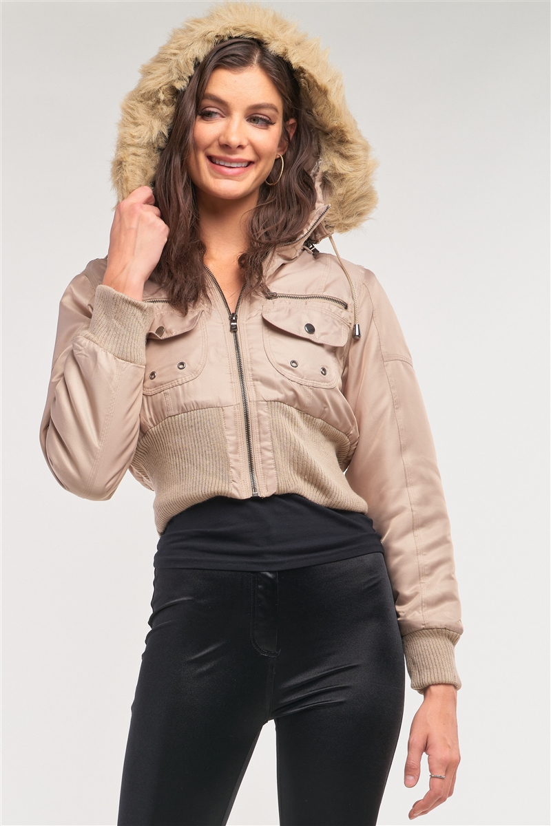 Taupe Zip-Up Faux Fur Hood Detail Cropped Winter Bomber Jacket /1-2-2-1