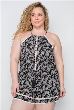 Plus Size Multi Black Paisley Print Crochet Trim Romper