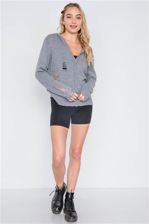 Charcoal Knit Distressed Hooded Button-Front Sweater