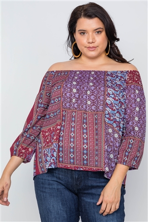 Plus Size Burgundy Off-The-Shoulder Multi Print Top