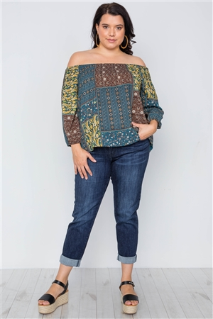 Plus Size Multi Mustard Off-The-Shoulder Multi Print Top