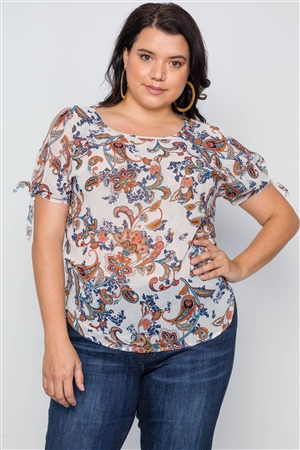 Plus Size Multi Beige Self Tie Sleeves Floral Chiffon Top