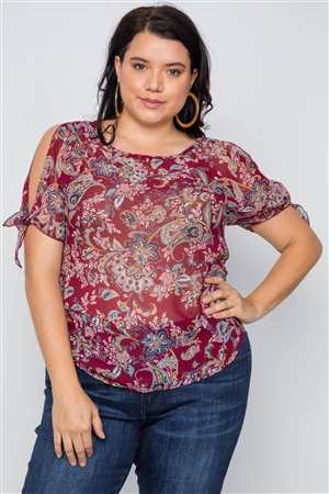Plus Size Multi Burgundy Self Tie Sleeves Floral Chiffon Top