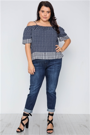 Plus Size Navy Check Pattern Cold Shoulder Boho Top