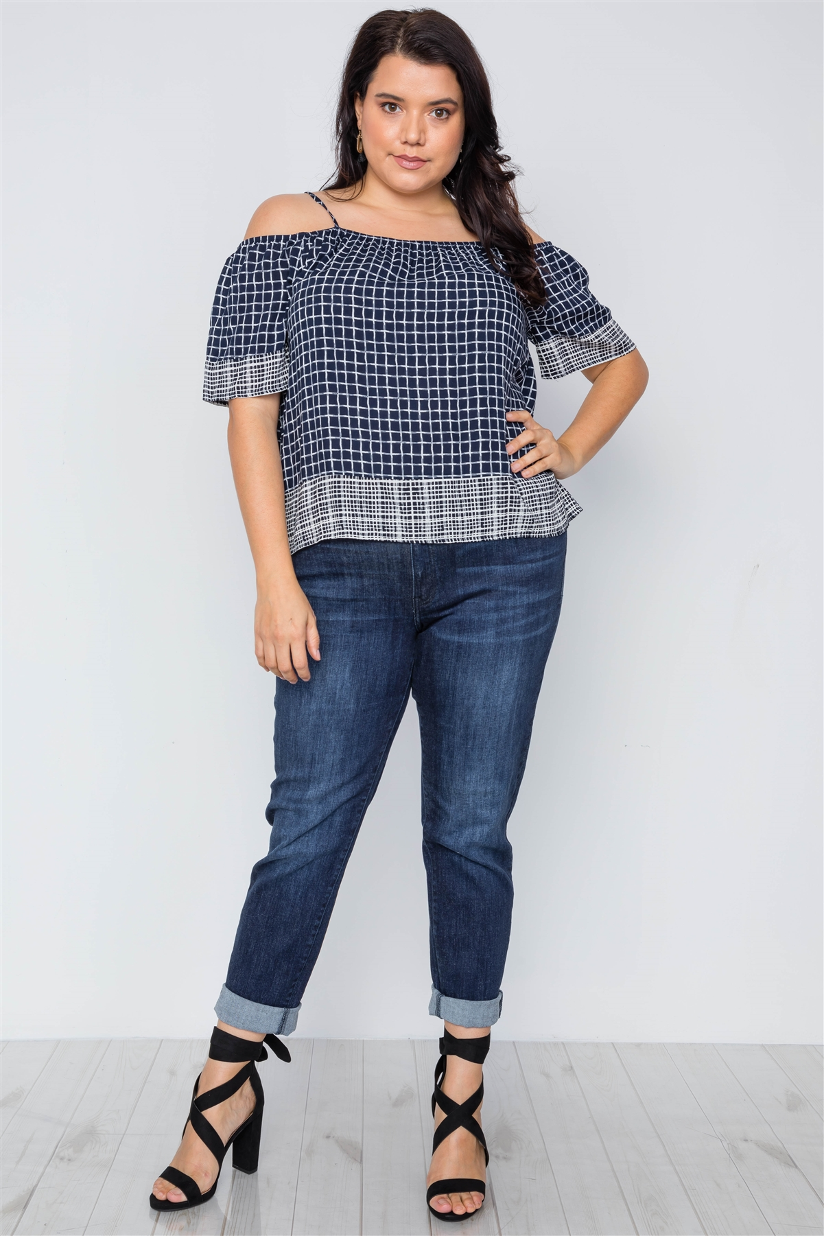 3a1f7432808 Plus Size Navy Check Pattern Cold Shoulder Boho Top  1-1-1