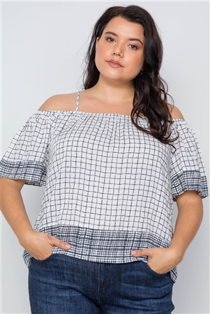 Plus Size Off White Check Print Cold Shoulder Boho Top