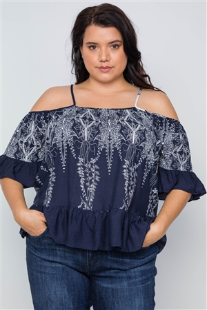 Plus Size Navy Ruffle Cold Shoulder Boho Top