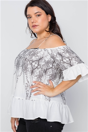 Off White Black Ruffle Cold Shoulder Boho Top