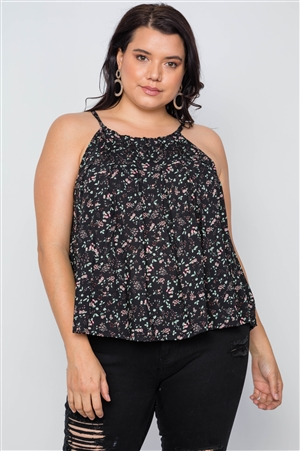 Plus Size Black Floral Print Cami Boho Top
