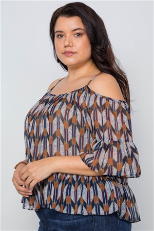 Plus Size Navy Multi Print Cold Shoulder Chiffon Top