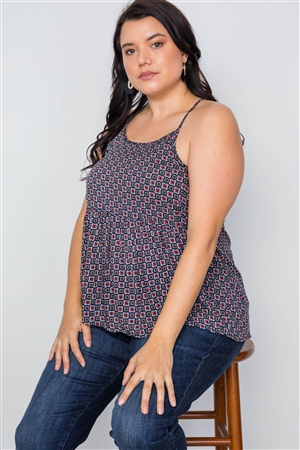 Plus Size Multi Navy Paisley Print Cami Boho Top