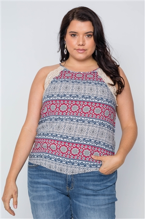 Plus Size Grey Paisley Print Crochet Trim Cami Boho Top