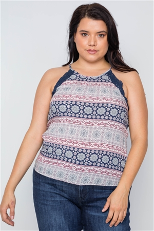 Plus Size Navy Paisley Print Crochet Trim Cami Boho Top
