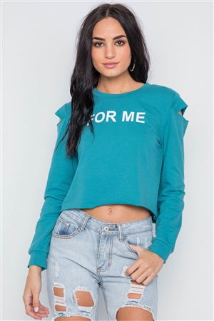 Blue Turquoise Cold Shoulder Long Sleeve Graphic Top